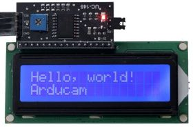 Arducam 1602 16x2 Serial HD44780 Character LCD Board Display with White on Blue Backlight 5V with IIC/I2C Serial Interface Adapter Module for Arduino