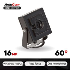 """Arducam 16MP Autofocus USB Camera with Mini Metal Case, 1/2.8"""" IMX298 Mini UVC USB2.0 4K Video Webcam with Microphone, 3.3ft/1m Cable for Windows, Linux, Android, and Mac OS"""
