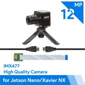 Arducam Complete High Quality Camera Bundle for Jetson Nano/Xavier NX, 12.3MP 1/2.3 Inch IMX477 HQ Camera Module with 6mm CS-Mount Lens, Metal Enclosure, Tripod and HDMI Extension Adapter