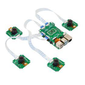Arducam 1MP*4 Quadrascopic Camera Bundle Kit for Raspberry Pi, Nvidia Jetson Nano/Xavier NX, Four OV9281 Global Shutter Monochrome Camera Modules and Camarray Camera HAT