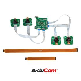 Arducam 1MP*4 Quadrascopic Camera Bundle Kit for Raspberry Pi, Nvidia Jetson Nano/Xavier NX, Four OV9281 Global Shutter Monochrome Camera Modules and Camarray Camera HAT