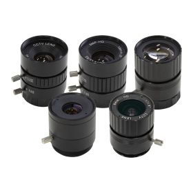 Arducam CS-Mount Lens Kit for Raspberry Pi HQ Camera (Type 1/2.3), 6mm to 25mm Focal Lengths, 65 to 14 Degrees, Telephoto, Wide Angle, Pack of 5
