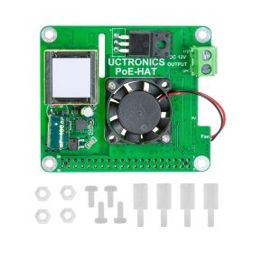 UCTRONICS PoE HAT 5V 3A for Raspberry Pi  4B, 3B+ and 802.3af/at PoE Network, with Cooling Fan