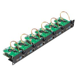 """UCTRONICS 1U Rack with PoE Functionality for Raspberry Pi 4, 19"""" 1U Rackmount Supports 1-6 Units with PoE HAT, Power Switch and SD Card Adapter"""