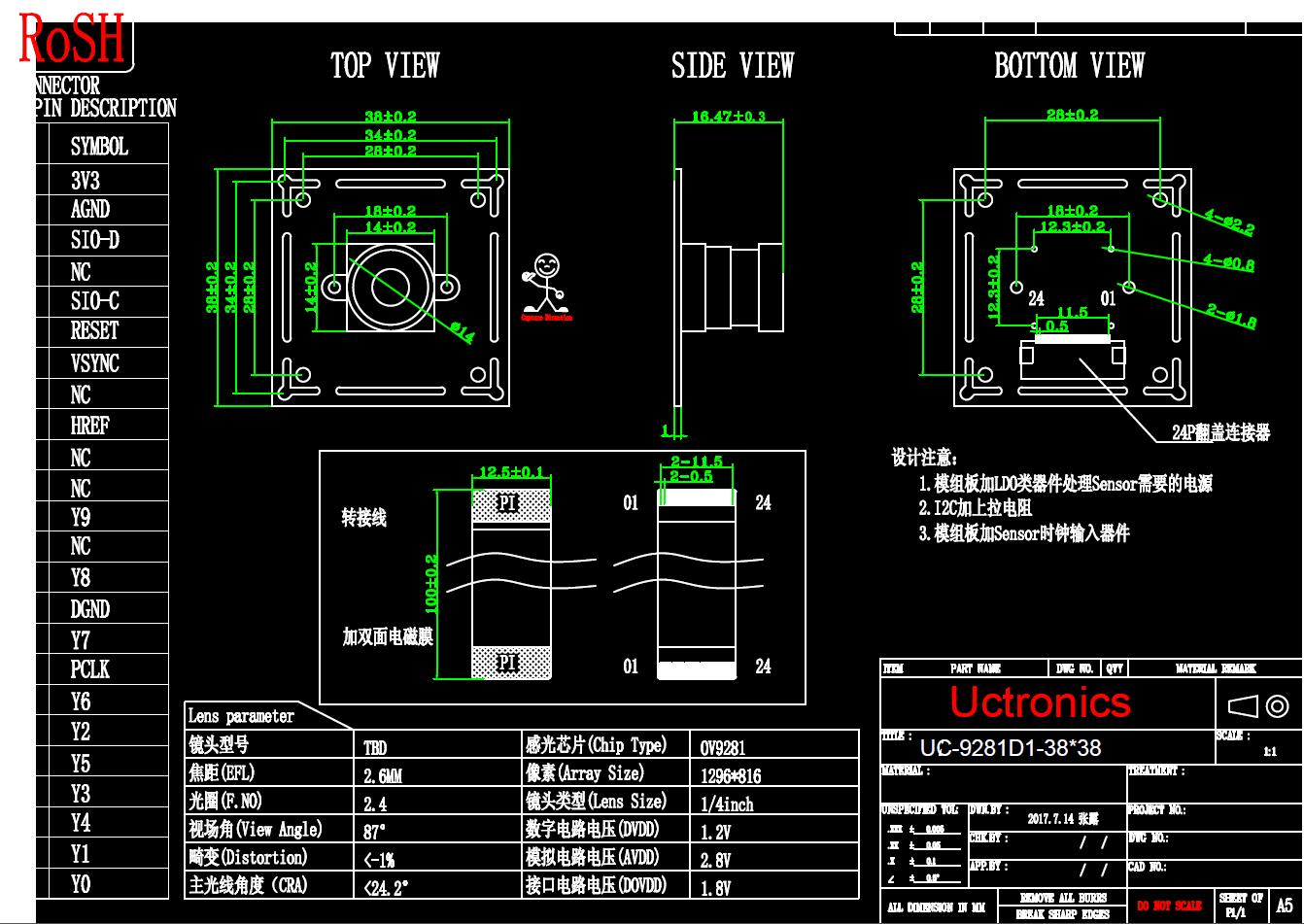 1  4 U0026quot  Cmos Ov9281 Sensor Standalone Camera Uc9281d1 Dvp Interface