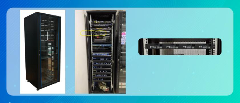 1U rack mount installed in a server rack